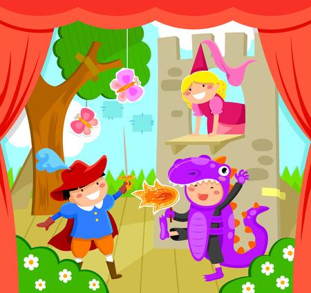 principe: bambini che effettuano uno spettacolo teatrale
