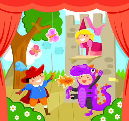 kids performing a theater play Vector