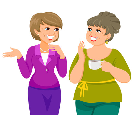 two mature women talking happily