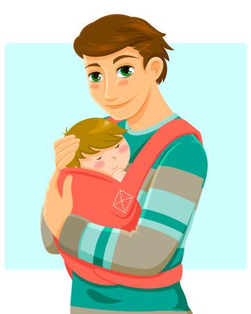 bebes: hombre joven con un bebé en una mochila porta bebé