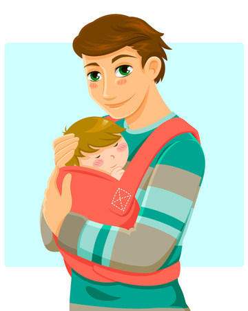 young man holding a baby in a baby carrier Stock Illustratie