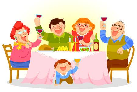 dinner food: Familia feliz con una cena festiva Vectores