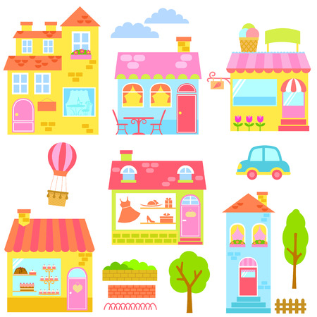 caf: collection of colorful houses, shops and other urban elements Illustration