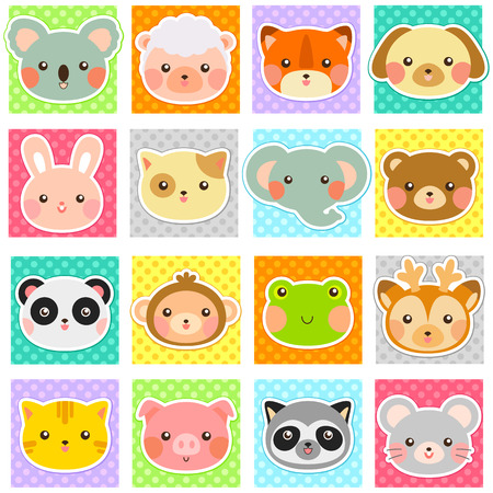 collection of cute animals over polka dotted patterns (swatches included). Vector