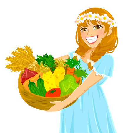 young girl holding a basket of fresh vegetables Vector