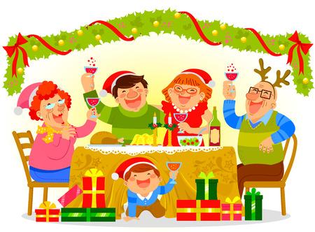 familia feliz tener una cena de Navidad