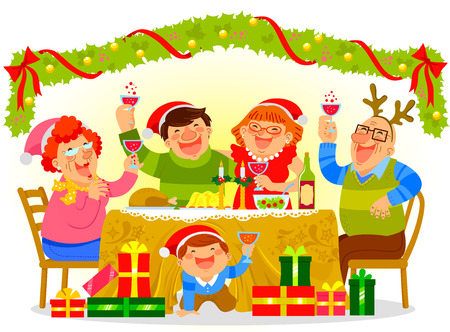 happy family having a Christmas dinner Vector