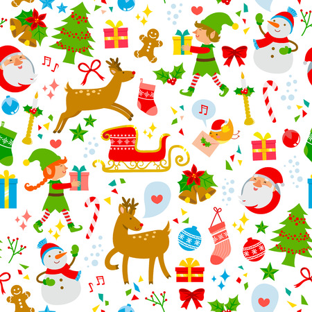 seamless pattern with cute Christmas symbols Vector