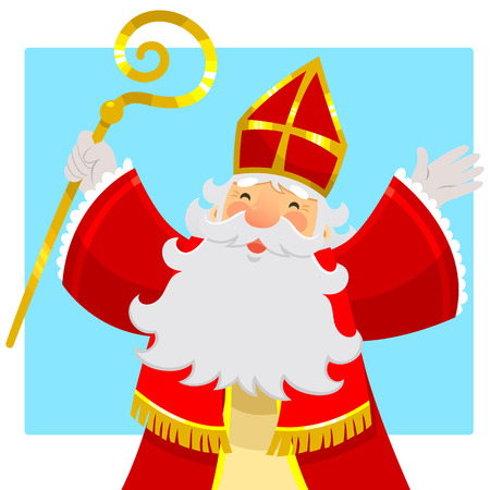 cartoon Sinterklaas or Saint Nicholas smiling and raising his hands