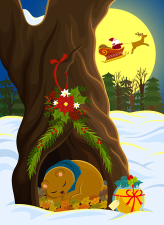animal den: sleeping bear receiving present from Santa Clause Illustration