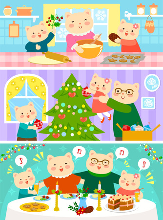 cartoon family of cats preparing for Christmas and celebrating it together Stock Illustratie