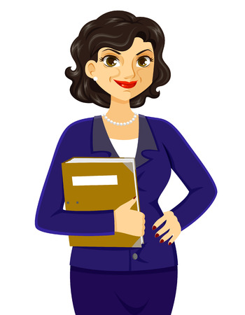 worker cartoon: mature business woman smiling with confidence Illustration