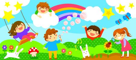 catarina caricatura: amplia franja horizontal con niños felices jugando en un mundo de fantasía Vectores