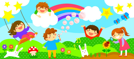 wide horizontal strip with happy kids playing in a fantasy world
