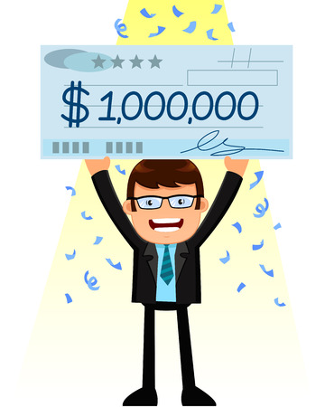 man holding a huge check of one million dollar