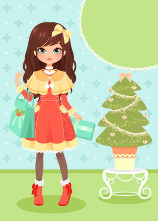 girl holding presents next to a Christmas tree and copy space Illustration