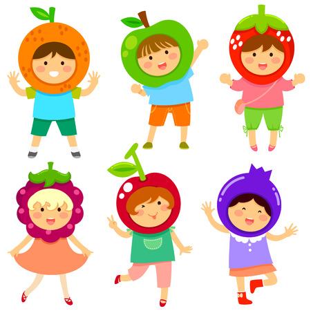 schattige kinderen verkleed als fruit Stock Illustratie