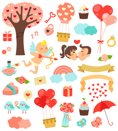 set of cute icons for valentines day Vector
