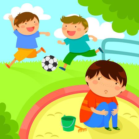 triste chico solitario mirando a niños jugando juntos