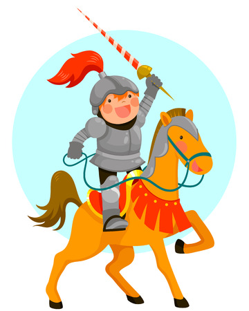 かわいい漫画の騎士が彼の馬に乗って