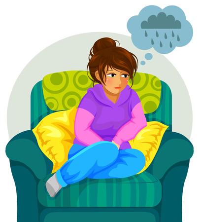 triste niña sentada en el sofá y pensamientos negativos Ilustración de vector
