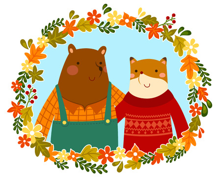 fall in love: happy bear and fox friends hugging in a floral frame
