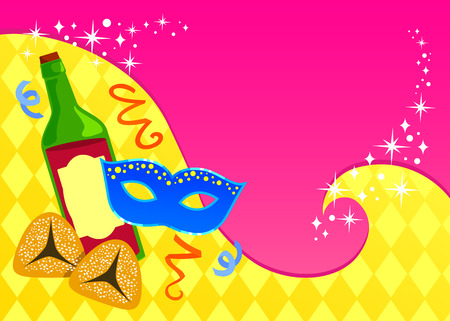 purim: colorful greeting card template for Purim with space for text