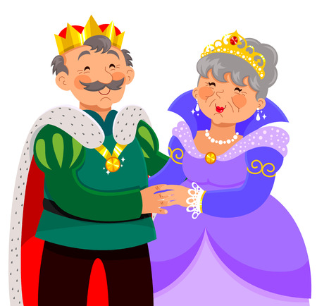 old people smiling: elderly king and queen hugging happily