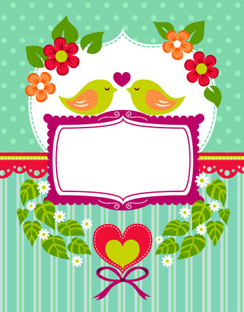 romantic card design with birds, hearts and flowers Vector