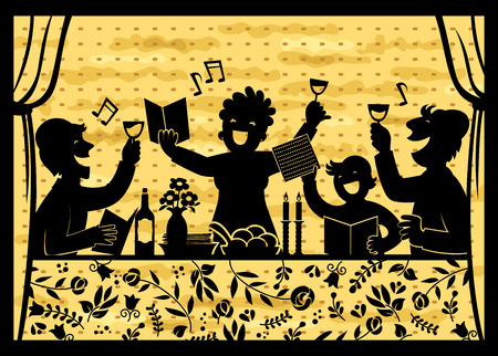 silhouette of a family celebrating Passover over background with matzo texture Vettoriali