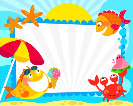 frame met cartoon vis en in de zomer symbolen