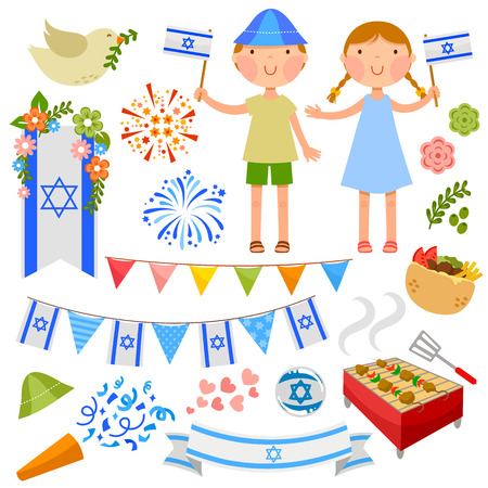 independence day: set of illustrations for Israel\\ Illustration