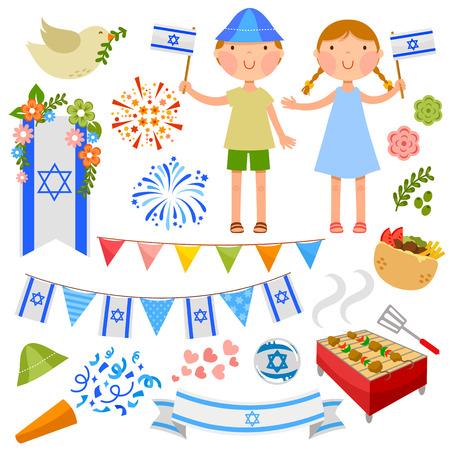 set van illustraties voor Israël  Stock Illustratie