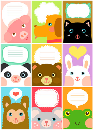 set of designs with cartoon animals Vector