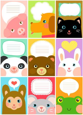 set of designs with cartoon animals