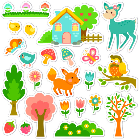 stickers designs with cute animals and plants Vector