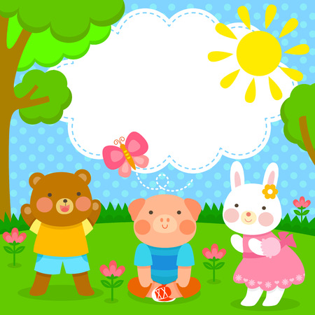 cute animal friends having fun at the park Vector