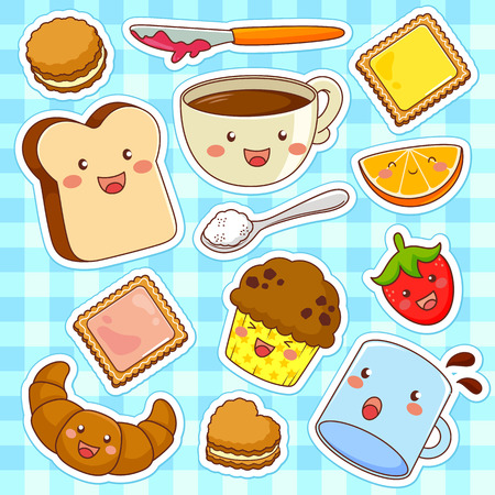 chocolate cupcake: cute kawaii style cartoon foods Illustration