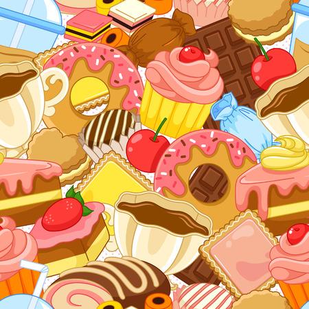 お菓子やペストリーのシームレス パターン