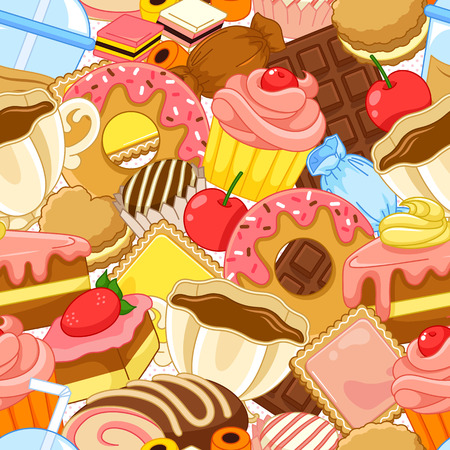 seamless pattern with sweets and pastries Vectores