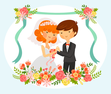 royalty free illustrations: Vintage style cartoon of bride and groom with floral ornaments