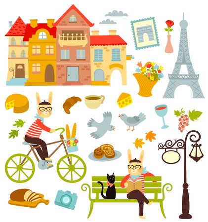 collection of cartoon symbols of Paris Çizim
