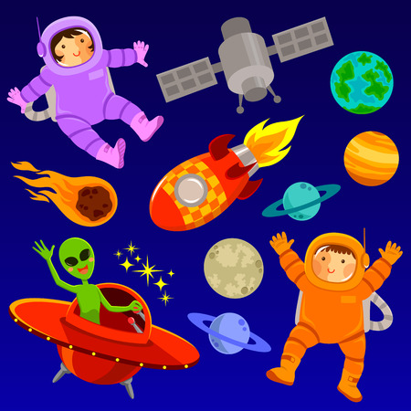 cartoon science: set of cartoon space elements Illustration