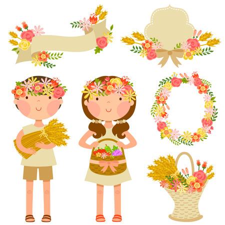twee kinderen dragen gewassen en een set van elementen die verband houden met de bloemen en de oogst thema van de Joodse vakantie Shavuot