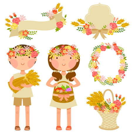 two kids carrying crops and a set of elements related to flowers and harvest theme of the Jewish holiday Shavuot Vector