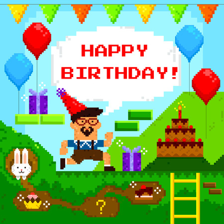 pixels: birthday card designed as retro pixel game
