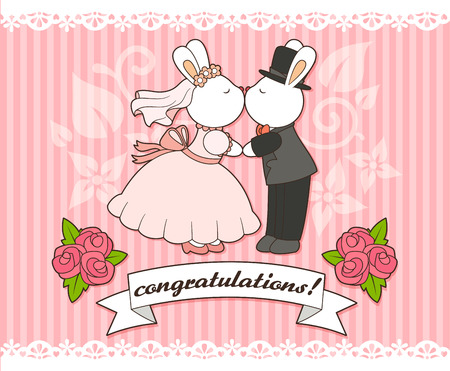 wedding card template with bunny bride and groom Vector