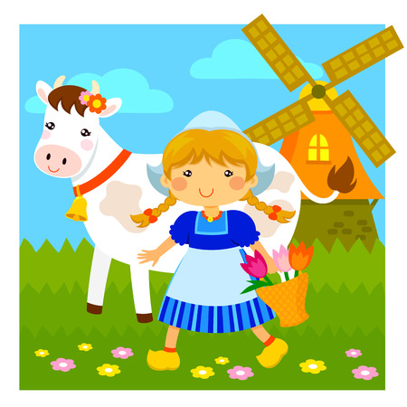 cartoon Dutch girl walking next to a cow and a windmill Vector