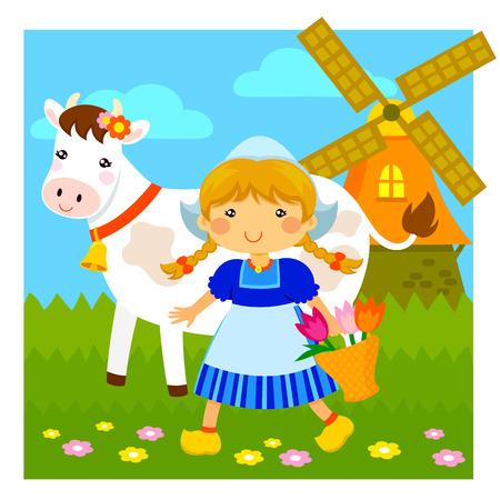 dutch girl: cartoon Dutch girl walking next to a cow and a windmill