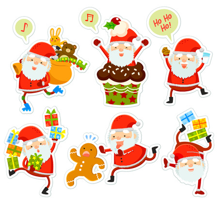 clauses: funny cartoon Santa Clauses in different poses